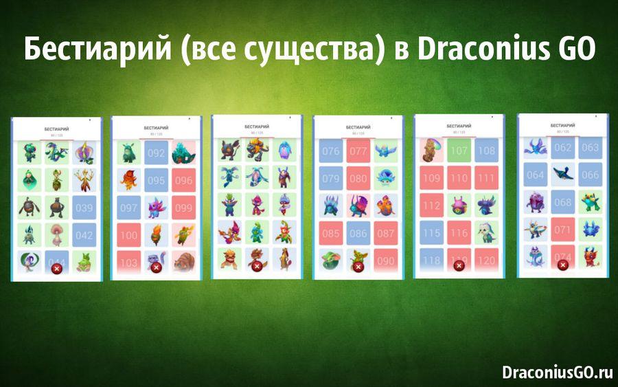 Бестиарий (все существа) в Draconius GO